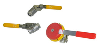 Lever ball valves with dead-man handles